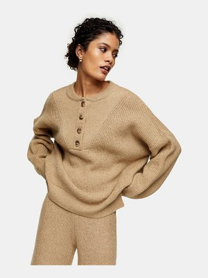 Topshop knitted sweater in beige-neutral