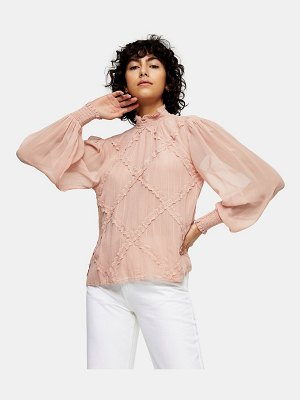 Topshop lace trim blouse in blush-pink