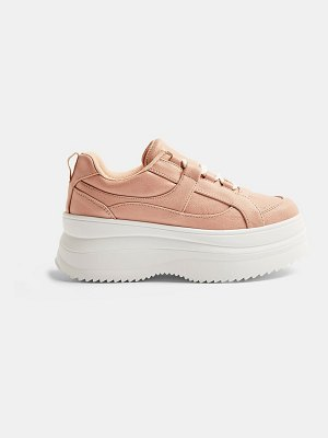 Topshop lace up flatform sneakers in blush-pink