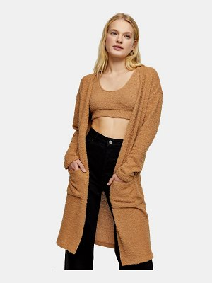 Topshop longline fluffy knit cardigan in camel-brown