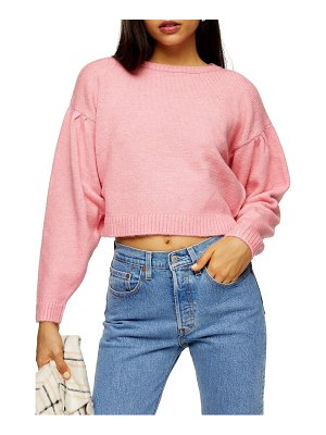 Topshop pleat shoulder crop sweater
