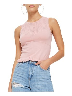 TOPSHOP Pointelle Yoke Frill Top
