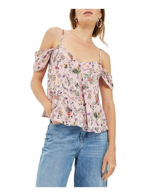 Topshop press flower cold shoulder top