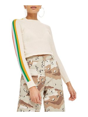 TOPSHOP Rainbow Sleeve Knit Top