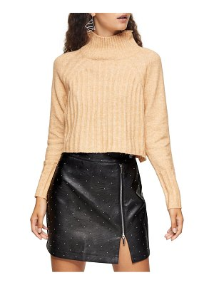 Topshop rib crop turtleneck sweater