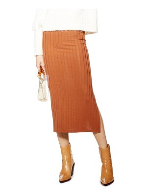 Topshop ribbed midi skirt