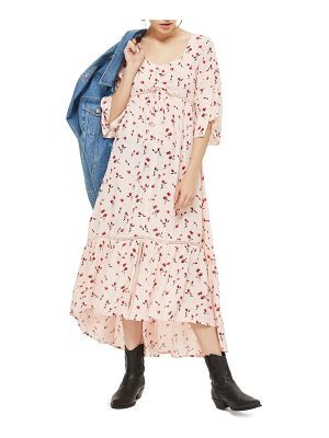 TOPSHOP Ruched Floral Maxi Dress