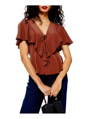 Topshop ruffle tie front blouse
