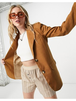 Topshop single breasted blazer in camel-brown