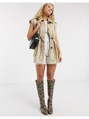 Topshop sleeveless cropped trench coat in sand-beige