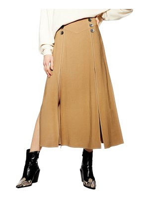 Topshop splice button front midi skirt