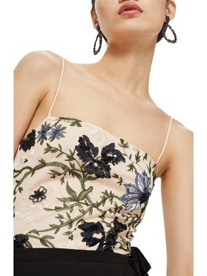 TOPSHOP Square Neck Floral Sequin Bodysuit