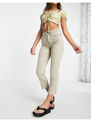 Topshop straight jeans in sand-neutral