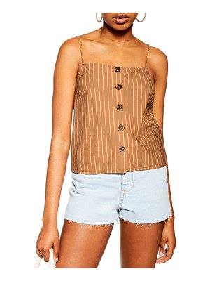 Topshop stripe button bow back camisole