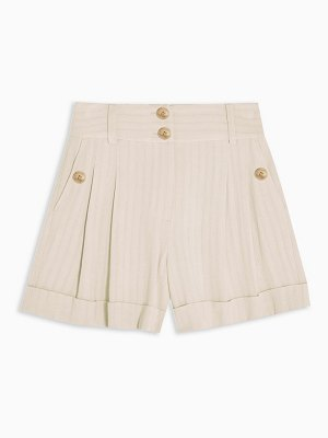 Topshop striped shorts in ivory-brown