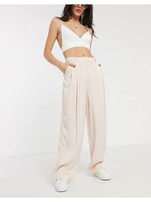 Topshop striped wide leg tailored pants two-piece in blush pink-beige