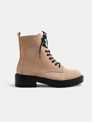 Topshop suede lace up boots in beige-neutral