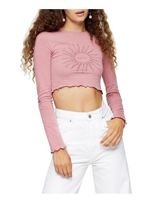 Topshop sun long sleeve crop top