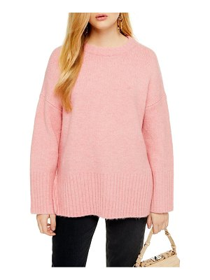 Topshop supersoft deep hem crewneck sweater