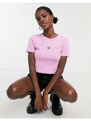 Topshop t-shirt with embroidered alien in pink