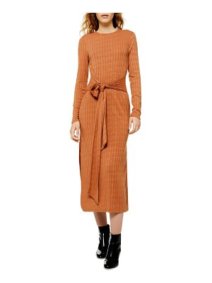 Topshop tie waist long sleeve knit midi dress