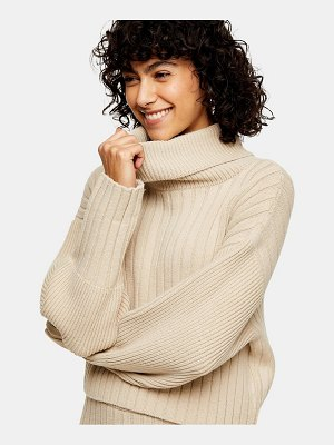 Topshop turn-back cropped knit sweater in natural-beige
