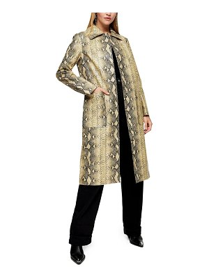 Topshop virgo snakeprint faux leather long coat