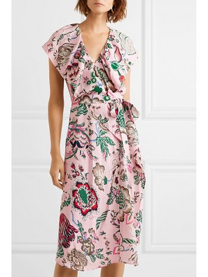 Tory Burch adelia ruffled floral-print crepe de chine wrap dress