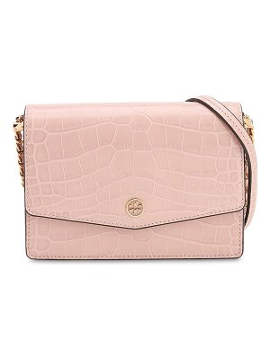Tory Burch Croc embossed leather shoulder bag