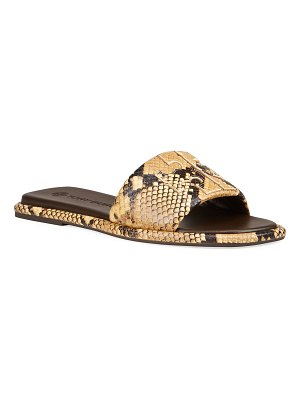 Tory Burch Double T Snake-Print Slide Sandals