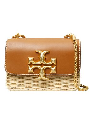 Tory Burch eleanor small leather & rattan shoulder bag