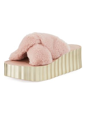 Tory Burch Faux-Fur Scallop Wedge Slide Sandal