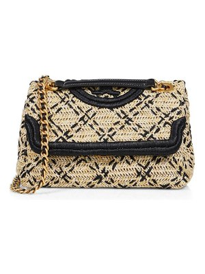 Tory Burch fleming leather-trimmed raffia shoulder bag