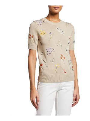 Tory Burch Floral Embroidered Short-Sleeve Pullover