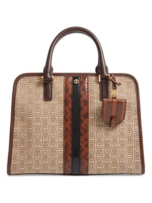 Tory Burch gemini link jacquard snake satchel with genuine snakeskin trim
