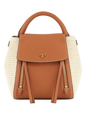 TORY BURCH Half-Moon Straw Crossbody Bag