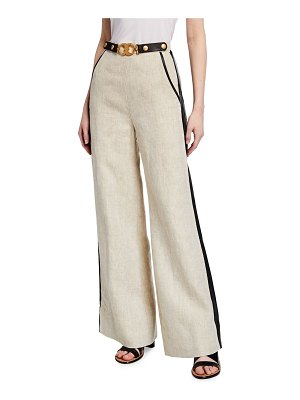 Tory Burch High-Waist Leather Trimmed Linen Trousers