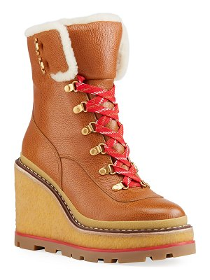 Tory Burch Leather Wedge Hiker Booties w/ Shearling Trim