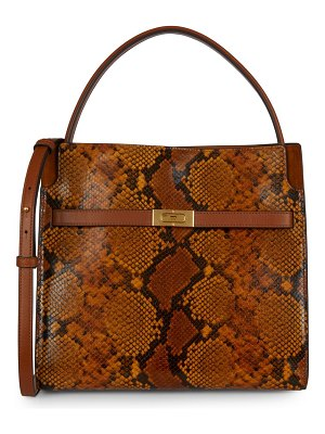 Tory Burch lee radziwill snakeskin-embossed leather satchel