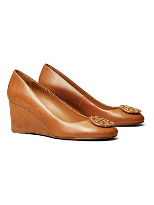 Tory Burch logo medallion wedge pump