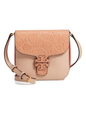 Tory Burch mcgraw croc embossed leather crossbody bag