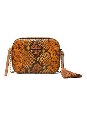 Tory Burch mcgraw snake embossed leather camera bag
