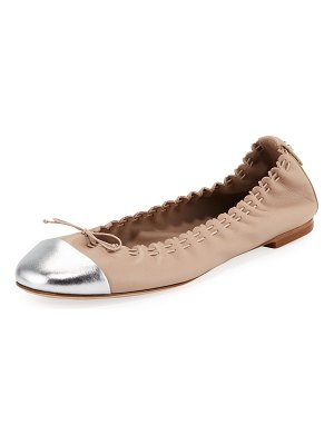 Tory Burch Metallic Cap-Toe Leather Ballet Flats