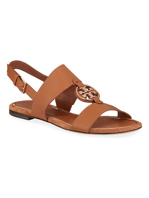 Tory Burch Miller Flat Metal Medallion Sandals