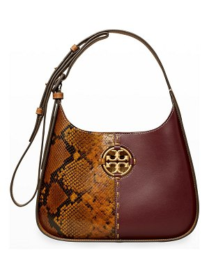 Tory Burch Miller Small Mix Snake-Print & Smooth Leather Hobo Bag
