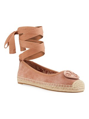 Tory Burch Minnie Medallion Ankle-Wrap Ballet Espadrilles