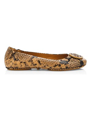 Tory Burch minnie snakeskin-embossed leather ballet flats