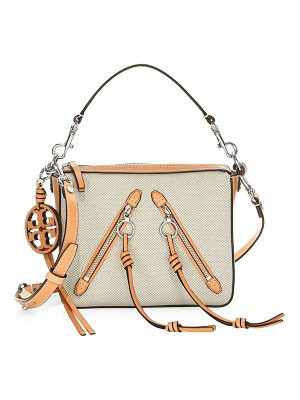 TORY BURCH Moto Canvas & Leather Satchel