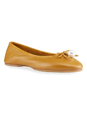 Tory Burch Pearly Charm Leather Ballerina Flats