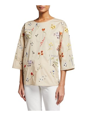 Tory Burch Robinson Floral Embroidered Poplin Top